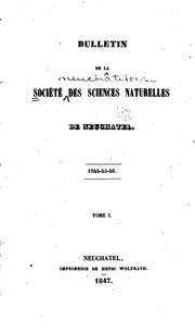 Bulletin de la Société neuchâteloise des sciences naturelles