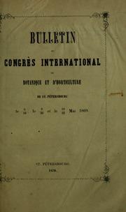 Bulletin du Congrès international de botanique et dhorticulture de St. Pétersbourg le 6-18 le 8-20 et le 10-22 mai 1869