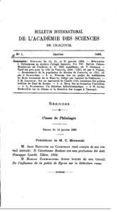 Bulletin international de lAcadémie des sciences de Cracovie