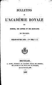 Bulletins de lAcadémie royale des sciences, des lettres et des beaux-arts de Belgique