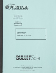 Bullet Auction: Held in conjunction with the September 1996 Long Beach Coin and Stamp Exposition
