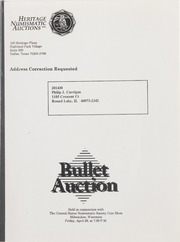 Bullet Auction: Held in conjunction with the Central States Numismatic Society Coin Show