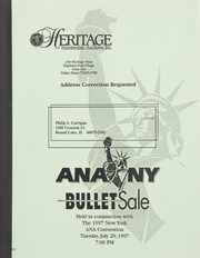 Bullet Auction: Held in conjunction with the 1997 New York ANA Convention