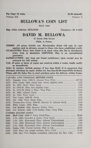 Bullowa's Coin List: May 1959