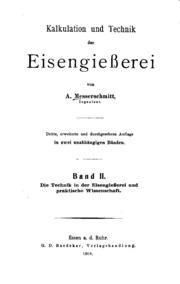 Vol 2: Calculation und Technik der Eisengiesserei