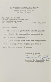 Francis D. Campbell Jr. Correspondence, 1967-1999