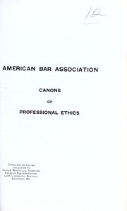 an essay on professional ethics sharswood george  canons of professional ethics