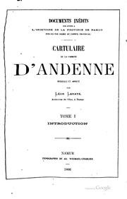 Vol pt. 1: Cartulaire de la commune d-Andenne;