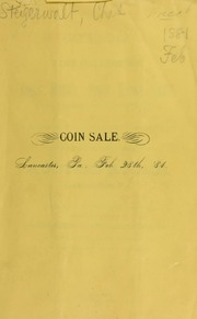Catalog of a fine collection of coins, medals, paper money, gems ... [02/28/1881]