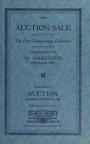 Catalog of the M. Marcuson Collection of Rare Coins, Medals, Tokens and Currency of the World