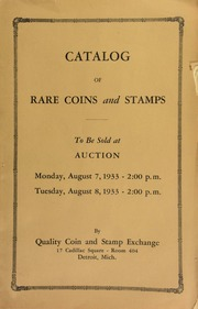 Catalog of rare coins and stamps, to be sold at auction ... [08/07/1933]