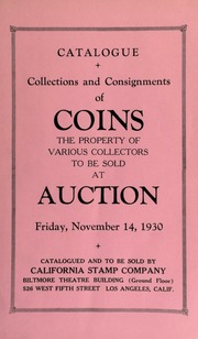Catalogue : collections and consignments of coins ... [11/14/1930]