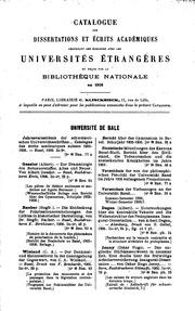 Catalogue des dissertations et écrits académiques provenant des écanges avec les universités ...