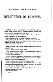 Catalogue des manuscrits de la Bibliothèque de l-Arsenal