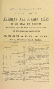 Catalogue of American and foreign coins, to be sold by auction ... [04/16/1869]