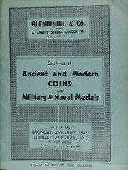 Catalogue of ancient and modern coins, including a Monaco, Charles III, 1882, one hundred francs piece, in brilliant state; and military and naval medals, containing two 1815 medals for Waterloo; [etc.] [07/26-27/1943]