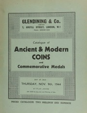 Catalogue of ancient & modern coins, [including] Roman and English; and commemorative medals, [containing] a commemorative dollar of Hong Kong City Hall, 1867; [and also] an interesting collection of obsolete bank notes; [etc.] ... [11/09/1944]