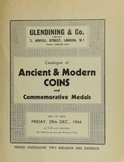 Catalogue of ancient & modern coins, and commemorative medals, including the collection of Alexander Duncan, Esq., [and containing] a George III pattern Bank of England token for ninepence; ... [12/29/1944]
