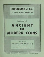 Catalogue of ancient and modern coins, including Hamburg marriage medals; portrait medals of English celebrities; a countermarked plated Spanish dollar of Charles IV, 1792; [and a] U.S. proof set of 1885 coins, in gold, silver, nickel, and copper; [etc.] ... [03/14/1946]