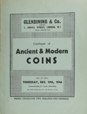 Catalogue of ancient & modern coins, [including] an interesting collection of Maundy money, complete from the Charles II undated issue, to George IV, 1946; [and] a collection of the Greek coinage of Sicily, in silver, copper and bronze; [etc.] ... [12/19/1946]