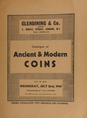Catalogue of ancient & modern coins, including English silver coins from 1664-1714, containing a crown of 1666, second bust ... with elephant under bust; halfcrown of 1666, third bust, with elephant under bust; William III provincial mints with initial letter under bust; [etc.] ... [07/02/1947]