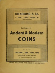 Catalogue of ancient & modern coins, including the medal of the National Rifle Association and the Rifle Association of Western India; a Booksellers' Exchange medal, 1836; \Work and Pray\, an 18th century medal; [as well as] an aureus of Maximianus Herculeus; [etc.] ... [12/30/1947]
