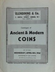 Catalogue of ancient & modern coins, including a large Coronation medal of George IV, 19th July 1821; a Victoria Diamond Jubilee medal; an ancient British stater of Cunobeline, obv. ... ear of corn, rev. ... prancing horse ... ; a Henry IV noble, heavy type; also hammered coins; [etc.] ... [04/28/1948]