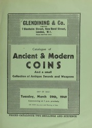 Catalogue of ancient & modern coins, [including] Victoria, pattern five pounds, 1839, by W. Wyon; George II, five guineas, 1741, young head; George V and Queen Mary, 1911, large Coronation medal;  ... [03/29/1949]