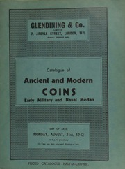Catalogue of ancient and modern coins, including a James I rose ryal; an extremely rare mohur of Oudh, Amjad-Ali, Shah, 1261; a large pattern ruble of Russia, in bronzed copper, of Catherine II; an Argetine gold onza, 1832; [as well as] early military and naval medals ... [08/31/1942]