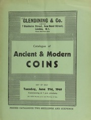 Catalogue of ancient and modern coins, [including] Greek coins, from the collection of the late John Mavrogordato, Esq., of Gilridge, Cowden Pounds, Edenbridge, sold by order of the executors;  ... [06/21/1949]