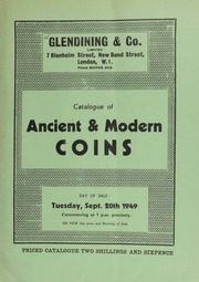 Catalogue of ancient & modern coins, including the property of A[lbert] Victor Cresser, Esq.; [and also containing] a James I angel, third coinage, trefoil (1624) and both Cromwell and Charles II pattern broads; [as well as] a George III pattern by Mills and Mudie, laureate bust; [etc.] ... [09/20/1949]
