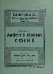 Catalogue of ancient & modern coins, [including] a George II five guineas piece, 1729, EIC below bust; a George IV pattern five pound piece, 1826; a Charles II 1663 proof crown struck in gold, eleven strings to harp; [and] a gold prize medal of Trinity College, ... [02/28/1950]