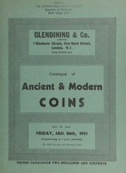 Catalogue of ancient & modern coins, [including] an Ancient British early type, obv. large head, rev. crude horse; a Richard II London noble, Class C; a Henry VI angel, Restoration issue, obv. St. George slaying the dragon;  ... [01/26/1951]