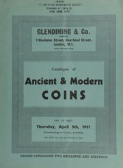 Catalogue of ancient & modern coins, [including] a Charles I Oxford triple unite, 1644; the Surveyor's Institution prize medal; a gold replica of the Alfred Jewel; gold prize medal, The Royal Institution, Manchester, 1823; a Glasgow magistrate's badge; [etc.] ... [04/05/1951]