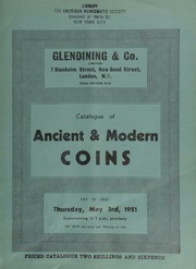 Catalogue of ancient & modern coins, [including] British historical medals in silver, the property of V.G. Whitby, Esq., [as well as] English and foreign gold, silver, copper and bronze coins ... [05/03/1951]