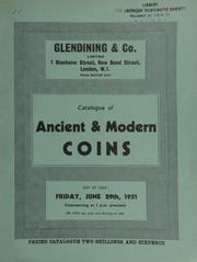 Catalogue of ancient & modern coins, [including] the property of W.R. Clark, of Brighton, (sold by order of the executors); [also] three Royal Society medals awarded to [scientist and inventor] Sir John Herschel, and sold by order of the trustee;  ... [06/29/1951]