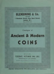 Catalogue of ancient & modern coins, [including] ten gold medals awarded to [scientists and inventors] Sir William Herschel and [his son] Sir John Herschel, sold by order of the trustee; [as well as] a Queen Anne five guineas piece, 1706, ... [10/30/1951]