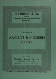 Catalogue of ancient & modern coins, [including] obsidional square cut silver coins, tokens, cabinets, and books, [such as several] volumes of British Museum catalogues; [etc.] ... [01/27/1954]
