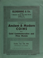 Catalogue of ancient & modern coins, also gold commemorative and prize medals, [including] a Junior Philatelic Society gold medal awarded in connection with the London International Stamp Exhibition, 1923;  ... [06/15/1954]