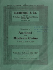 Catalogue of ancient and modern coins, in gold and silver, [including] a Canada, Edward VII, sovereign 1913C, fine and very rare; [and] an Ireland proof farthing, 1737, in silver, extremely fine;  ... [09/18/1957]