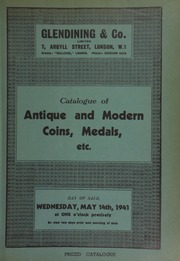 Catalogue of antique and modern coins, medals, etc., including the remainder of the collection of war medals and decorations of the late Captain J.F. Meredith; ... [05/14/1941]