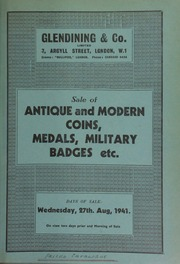 Catalogue of antique and modern coins, medals, military badges, etc., [including] a Louis XVI double Louis, 1777; [and] a silver ballooning medal, with bust of Vincent Lunardi, \First Aerial Traveller in England\ ... [08/27/1941]