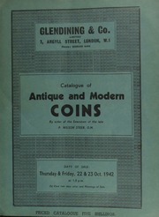 Catalogue of antique and modern coins, [sold] by order of the executors of the late [landscape painter] P[hilip] Wilson Steer, O.M., [containing some] ancient British [and] Anglo Gallic coins, A.D. 1362-1461; [as well as] the property of [another] collector ... [10/22/1942]