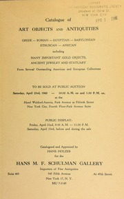 Catalogue of art objects and antiquities ... [04/22/1960-04/23/1960]