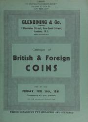 Catalogue of British & foreign coins, including illustrated coins of Bohemia, lower Austria, Hugary, Saxony, Salzburg, the Teutonic Order, Transylvania, Mecklenburg, [and] Wurzburg, [etc.];  ... [02/16/1951]
