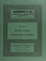 Catalogue of British orders, decorations & medals, including several medals for Africa General Service, 1900-1918; a group of eight medals awarded to Capt. George Tagore Mair;  ... [10/31/1979]