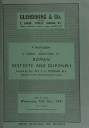 Catalogue of a choice collection of Roman sestertii and dupondii, formed by the Rev. E.A. Sydenham, M.A., President of the Royal Numismatic Society ... [12/10/1941]