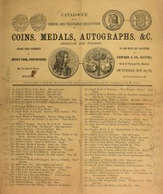 Catalogue of a choice and valuable collection of coins, medals, and autographs, &c., American and foriegn, from the cabinet of Henry Cook, coin dealer ... [11/24/1863]