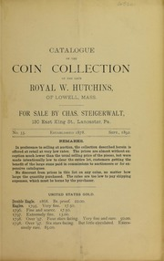 Catalogue of the Collection of the late Royal W. Hutchins, No. 33