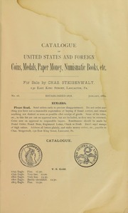 Catalogue of Coins, Medals, Paper Money, Numismatic Books, Indian Stone Implements, Curiosities, Etc. No. 16